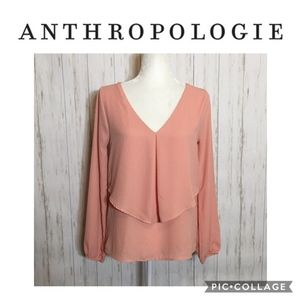 Anthropologie Bird Cage Soft Coral Flowy Blouse